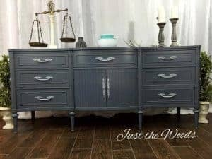 gray-painted-buffet, chalk paint, charcoal gray paint, graphite, mcm, painted furniture, nyc, staten island