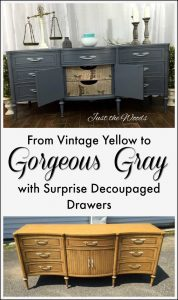 gray-painted-buffet-with-decoupage, just the woods