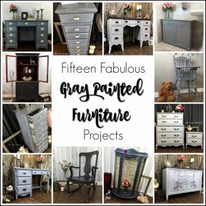 painted furniture, gray painted furniture, painted desk, painted dresser, chalk paint, graphite, shabby chic