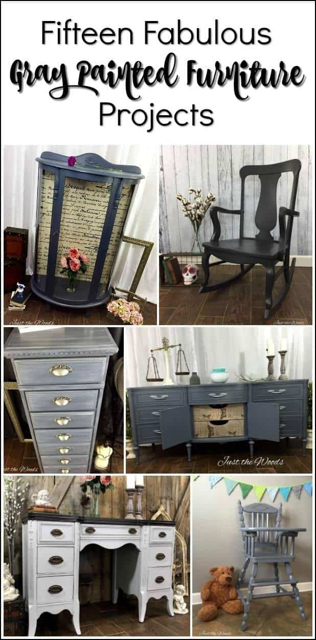 gray-painted-furniture, Fifteen gray painted furniture projects to inspire you. If you are looking for gray painted furniture ideas and inspiration check these out. A variety of gray chalk painted makeover. #graypaintedfurniture #graypaintedtable #graychalkpaint #paintedfurnitureideas