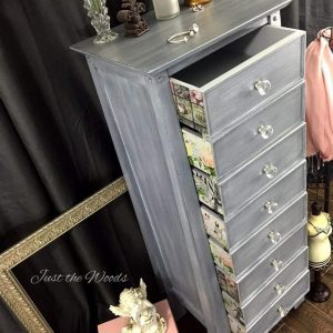 gray-painted-lingerie-chest-decoupage, painted gray furniture, painted lingerie chest, decoupage, painted furniture, chalk paint, nyc
