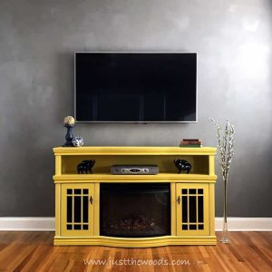 home-depot-electric-fireplace-painted-yellow, painted tv stand, painted media console, bright yellow, yellow and white painted furniture, chalk paint, pure home paint, saffron