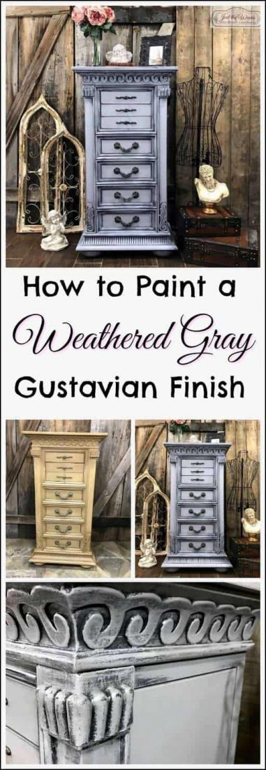 how-to-paint-weathered-gray, gustavian finish, chalk paint, layered paint