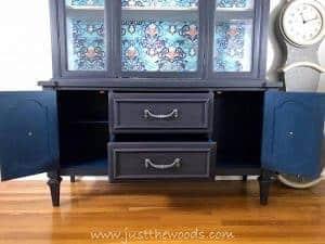 indigo-blue-paint, miner blue, chalk paint, pop of color, painted drawers