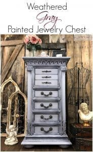 Weathered Gray Hand Painted Jewelry Chest by Just the Woods