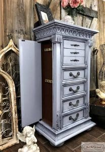 weathered gray, painted jewelry chest, gustavian style, french country, chalk paint, pure home paint, staten island,