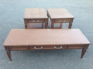 mersman, vintage mersman furniture, coffee tables, end tables, vintage furniture, orange painted furniture