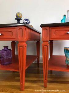 mersman-painted-tables, painted mcm furniture, orange tables