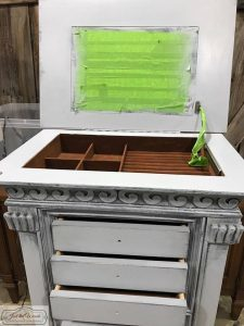 gustavian style painted furniture, wet distress, weathered gray, french country, swedish style, jewelry chest, nyc