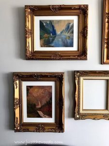 newly-framed-old-art, vintage style gallery wall, ornate frames, gallery wall