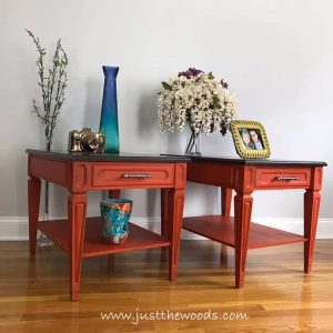 orange-painted-tables, painted furniture, vintage furniture, painted tables