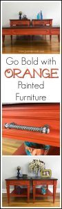 orange-painted-tables-pin, orange painted furniture, painted mcm furniture, mersman, just the woods, new york, staten island