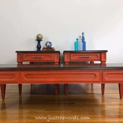 orange painted tables, wood stain, bling hardware, glaze, new york, staten island