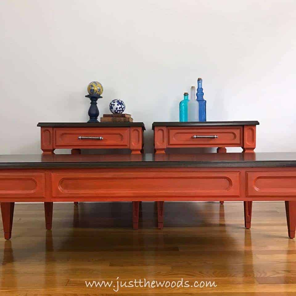 orange painted tables, wood stain, bling hardware, glaze, new york, staten island