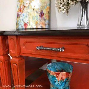 orange-tables-ornate-pulls, orange painted tables, orange furniture, pewter hardware
