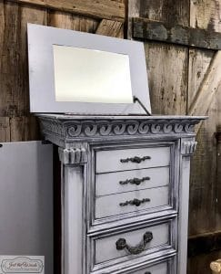 weathered gray, painted jewelry chest, gustavian style, nyc, french country, chalk paint, pure home paint, staten island,