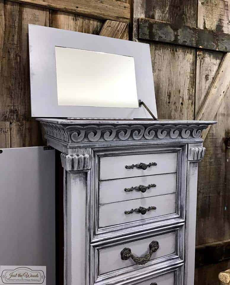 paint mirror jewelry chest, jewelery armoire mirror, paint when mirror doesn't come out