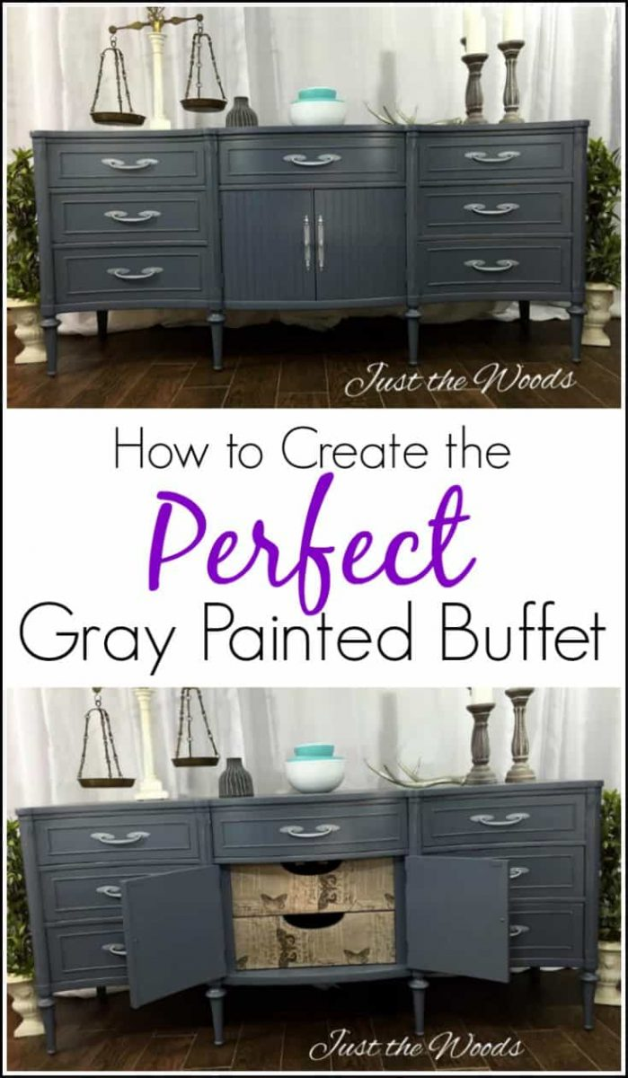 How to Create the Perfect Gray Painted Buffet with Tissue. Extra long Gray painted sideboard with surprise decoupage drawer fronts. Painted furniture. #paintedfurniture #graypaintedfurniture #paintedbuffet #graypaintedbuffet #graychalkpaintedfurniture #graypaintedfurnitureideas