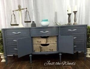 painted-buffet-with-decoupage, gray painted buffet, vintage furniture, gray chalk paint, nyc, staten island, decoupage