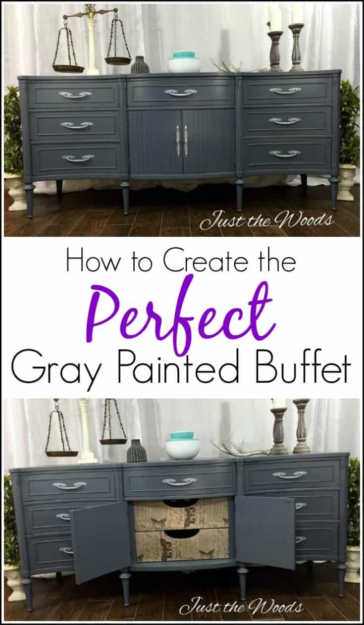 How to Create the Perfect Gray Painted Buffet with Tissue. Extra long Gray painted sideboard with surprise decoupage drawer fronts. Painted furniture.