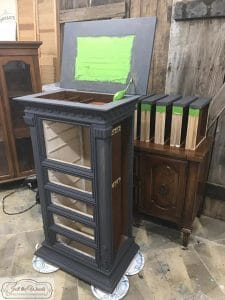 Custom muxed charcoal, gray chalk paint, graphite, painted gustavian finish, jewelry armoire, jewelry chest