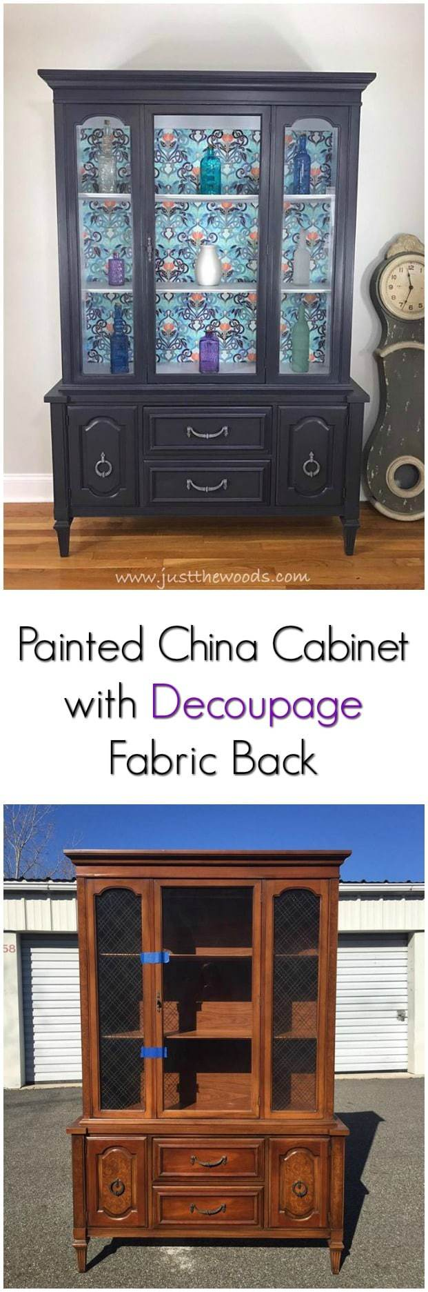 A painted china cabinet with gorgeous fabric decoupage. Deep gray with purple undertones make this painted china cabinet amazing. #paintedfurniture #paintedcabinet #furnituremakeover #paintedchinacabinet #furnituredecoupage #paintedfurnitureideas #fabricdecoupage