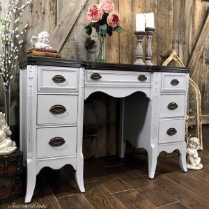 painted-furniture-gray-with-stain, gray painted furniture, painted desk, vintage desk, nyc