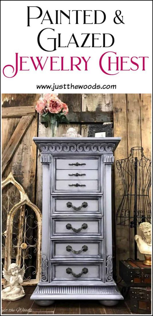 Painted jewelry chest in a weathered gray, gustavian style finish for that soft french country and shabby chic look. | painted jewelry chest | painted jewelry armoire | how to layer paint |