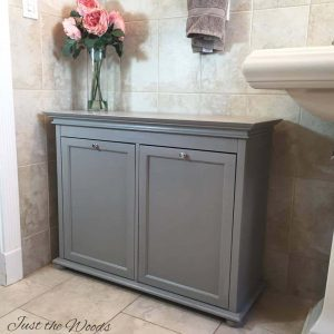 painted-hamper, gray painted furniture, just the woods