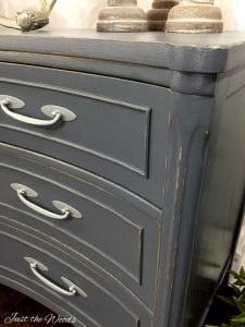 painted-hardware, distressed furniture, gray painted furniture, chalk paint, vintage painted furniture
