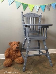 painted-high-chair, painted high chair, vintage high chair, non toxic paint, chalk paint