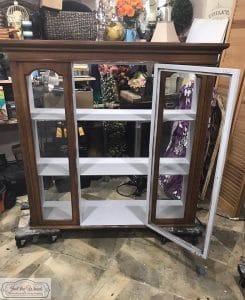 painted-light-gray-inside-cabinet, gray chalk paint, painted inside china cabinet