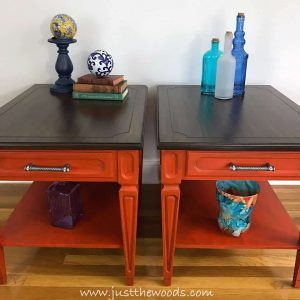 painted-mcm-end-tables, teak wood stain, pure home paint, painted orange tables