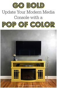 painted-media-console, yellow painted furniture, pop of color, gray wall with yellow furniture