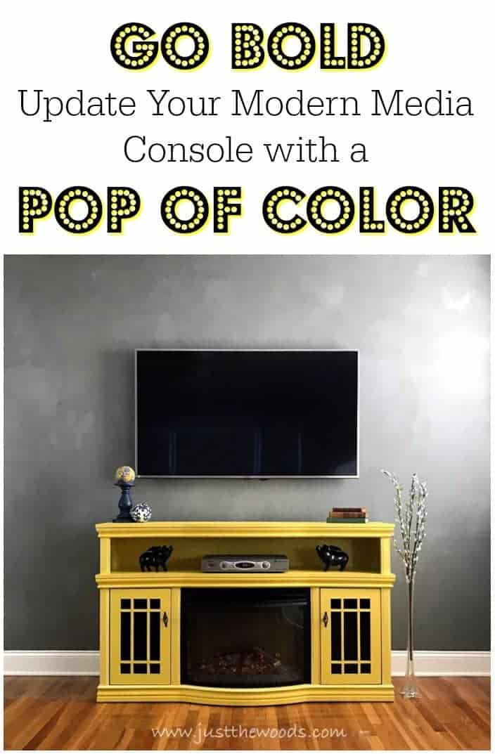 bold yellow media console, painted media stand, tv stand, media center