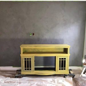 painted-tin-kettle-wall, painted media console, pure home paint, saffron, yellow chalk paint