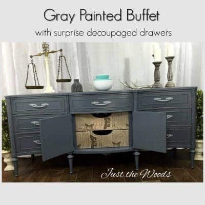 Gray Painted Buffet with Decoupaged Drawers