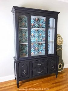 painted-vintage-china-cabinet, decoupage, china cabinet, painted furnture