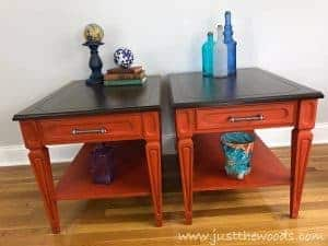 pure-home-paint-teak-and-orange, painted mcm tables, mersman, vintage furniture