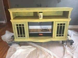 saffron, yellow chalk paint, media console, staten island, painted furniture, new york