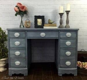 shabby-chic-desk, gray painted desk, gray painted furniture, shabby chic, vintage desk, staten island, nyc
