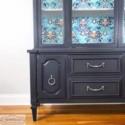 Gray Painted China Cabinet with Decoupage Backing