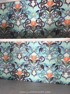 spoonflower-ocean-indigo, decoupage, painted china cabinet, coral fabric, indigo fabric