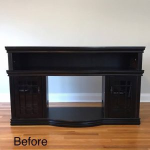 unfinished-media-stand tv stand, media console, tv console, painted furniture, painted media console, painted tv stand, bright yellow chalk paint