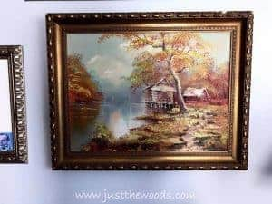 vintage-art-in-gold-frame, gallery wall, painting on gallery wall, how to arrange gallery wall