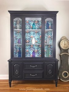 vintage-china-cabinet-painted, painted china cabinet, gray chalk paint, decoupage, spoonflower