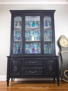 Vintage Painted China Cabinet, Painted China Cabinet, New York, Shabby