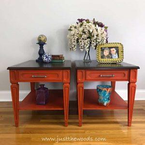 vintage-tables-painted-orange, orange painted tables, orange chalk paint, wood stain, vintage painted furniture
