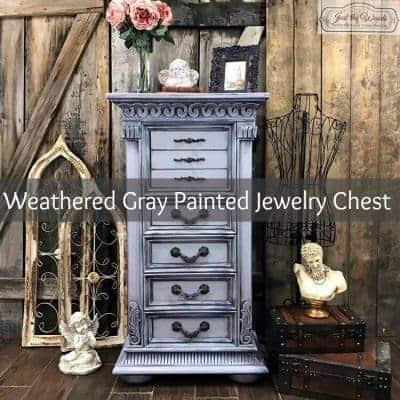 Weathered Gray Hand Painted Jewelry Chest
