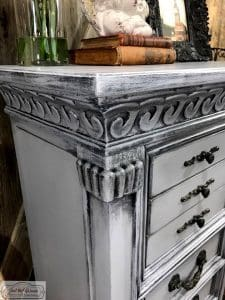 wet distress, layered paint, chalk paint, gustavian style, ornate details, painted furniture, painted chest, painted jewelry chest